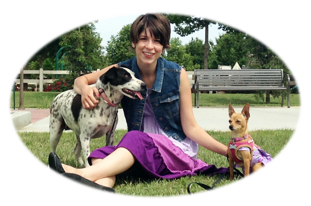 Dog Copywriter Lindsay Pevny and dogs