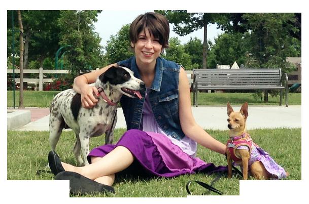 Dog Copywriter Lindsay Pevny and dogs